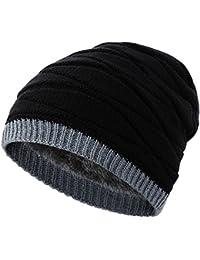 Novawo Beanie Boina de lana, Gruesa con Vello, Mantiene el Calor, Tejido de Punto, Para Hombres y Mujeres, Otoño e Invierno