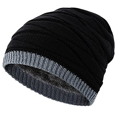 Novawo Men's Knit Thicken and Fleece Lining Beanie Hat Winter Slouchy Warm Cap