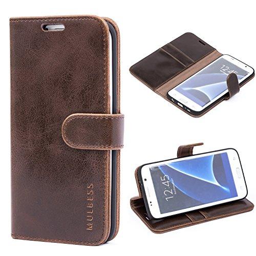 Mulbess Handyhülle für Samsung Galaxy S7 Edge Hülle, Leder Flip Case Schutzhülle für Samsung Galaxy S7 Edge Tasche, Vintage Braun