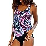 Xinan Bikini Set Damen Badeanzug Bademode Women Frauen Plus Größe Bedruckt Tankini Bikini Bade Anzug (XXL, Lila)