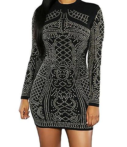 Bling-Bling Dress Women's Black Studded Long Sleeves Dress S