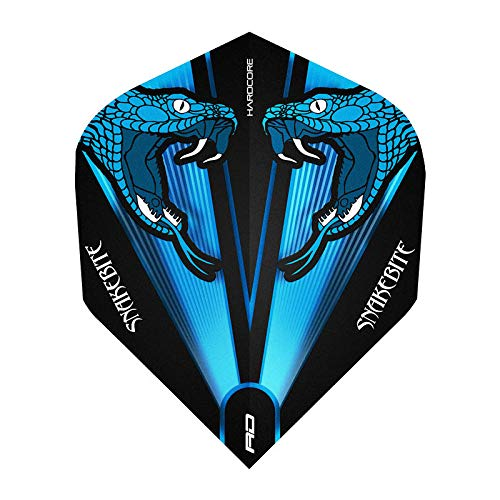 Red Dragon Hardcore Peter Wright Snakebite Blau Transparent Dart Flights - 3 Sätze pro Packung (9 Flights insgesamt)