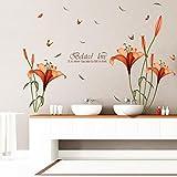 Topgrowth Adesivo da Parete Fiori Piante Parete Adesivo Decorativo per Soggiorno Camera Adesivi Murali Floreali … (Arancia)