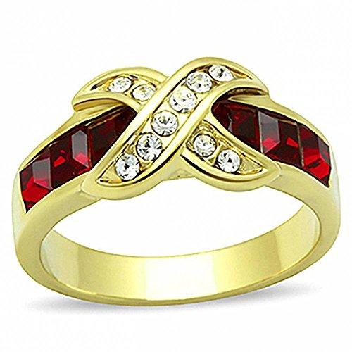 ISADY - Rachel - Damen Ring - 585er 14K Gold platiert - Zirkonium Rot - T 57 (18.1) (14k Ringe Schmuck Gold)