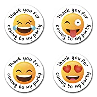 40mm Emoji *Thank You For Coming To My Party* Round Stickers for Party Bags & Sweet Cones (48 x Stickers)