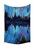Natürliche Höhle Dekoration Wandteppich für beleuchtet Reed Flute Spülkasten mit Künstliche Lichter Crystal Palace Myst Set Höhle Bild Schlafzimmer Wohnzimmer Wohnheim Decor blau, multi, 59W By 80L Inch