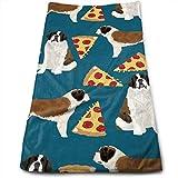 Wodann Tranches de Pizza à Motif de Chiens de Race Saint-Bernard Essuie-Mains torchon Essuie-Mains en Lin à Fleurs Super Soft 11.8'x 27.5'