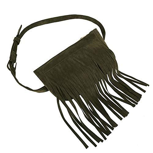 TUDUZ Umhängetasche Damen Schultertasche Fransen Tasche Gürteltasche Geldbörsen Handytasche Crossbody Bag für Frauen Mehrere Farben(Grün)