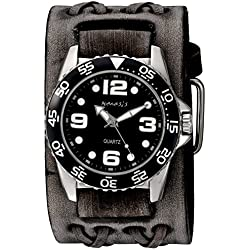 Nemesis Men's 'Groovy Series' Quartz Stainless Steel and Leather Automatic Watch, Color:Black (Model: VDXB097K)