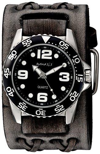Nemesis Men's 'Groovy Series' Quartz Stainless Steel and Leather Automatic Watch, Color:Black (Model: VDXB097K)