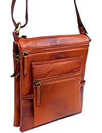 "Stylish 8"" Inch Genuine Leather Expandable Small Messenger Office Bag Cash Side Sling Bag By Widnes"