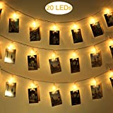 WEBSUN 20 Leds Star LED Photo Clips String Lights Battery Operated Wall Fairy String Lights for Bedroom Hanging Photos, Cards and Artworks (10 Feet,Warm White)