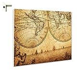 Magnettafel Pinnwand Memoboard mit Motiv Weltkarte Globus Antik Größe 60 x 40 cm