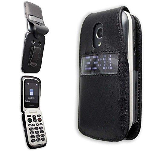 caseroxx Handy-Tasche Ledertasche mit Gürtelclip für Doro 6050/6051 aus Echtleder, Handyhülle für Gürtel (mit Sichtfenster aus schmutzabweisender Klarsichtfolie in schwarz)