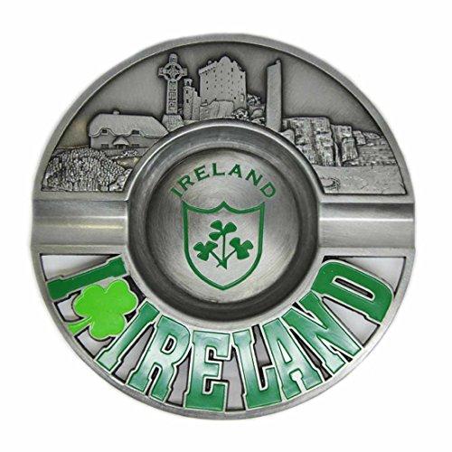 13cm Aschenbecher aus Metall im Kleeblatt-Design geprägt mit irischen Sehenswürdigkeiten -