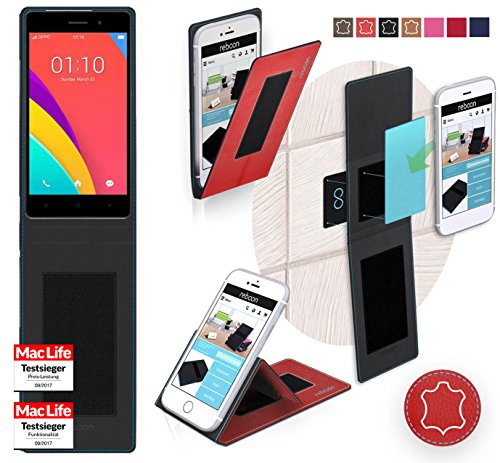 reboon Hülle für Oppo R5s Tasche Cover Case Bumper | Rot Leder | Testsieger