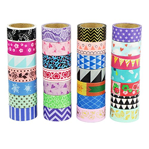 UOOOM Multi-pattern Beautiful Washi Tape Masking Tape deko klebeband buntes Klebebänder DIY scrapbook deko (10 x Patterns) - Deko-tape