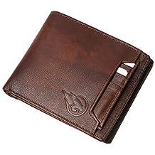 Ruge Genuine Leather RFID Blocking Men's Wallet - Antique Brown