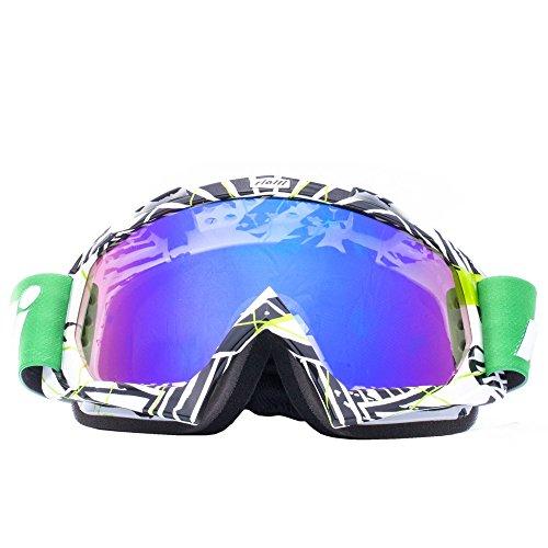 RIALLI Moto Goggle Dirt Bike off-road occhiali protettivi Motocross vento occhiali antipolvere occhiali da aviatore occhiali da neve Sport invernali nero + verde telaio