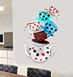 Wonderland Tea Party Mural Full Colour Wall Sticker - Living Bedroom Kitchen Decal Transfer - LARGE 70cm x 42cm - SELECT SIZE FROM MENU BELOW