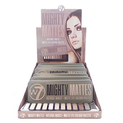 W7 Mighty Mattes Natural Nudes Matte Eye Colour Palette Display Set, 6 Pieces plus Display Tester