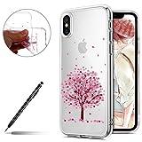Uposao Coque iPhone X/XS Cerisier Pink Rose, Transparente Motif Fleur de Cerisier Mignon Belle Beau Vintage Etui Silicone Souple Flexible Clear View Léger Hybrid Slim Fit Bumper iPhone X/XS