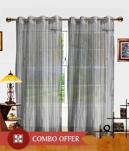 Elegance Grey Sheer Solid Polyester 4 Long Door Curtain