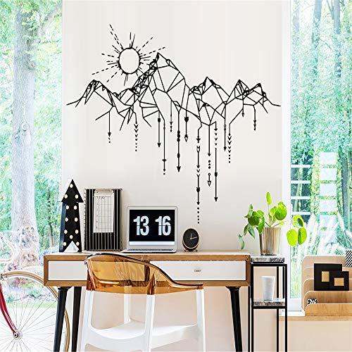Kreative Geometrische Berg Wandaufkleber Dekor für Wohnzimmer Schlafzimmer Dekoration Sonne Aufkleber Wandaufkleber Tapete Rot XL 57 cm X 77 cm