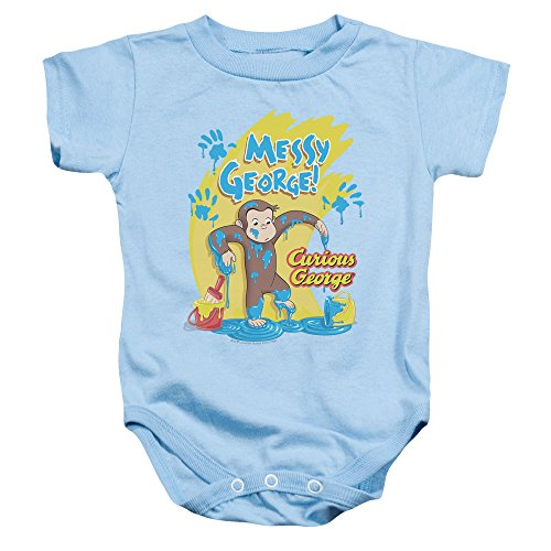 Curious George - Kleinkind Messy George Onesie, 24 Months, Light Blue