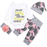 Ropa Bebe niña niño,(0M-18M) bebé Carta Larga Manga Floral Blusa + Pantalones Traje