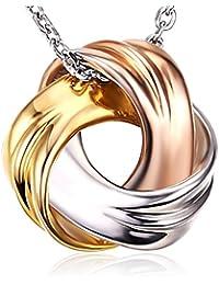 J.Rosée Collar Plata de Ley 925 3A Circón Tres Colores con Hermosa Caja para Mujer(45cm+5cm)