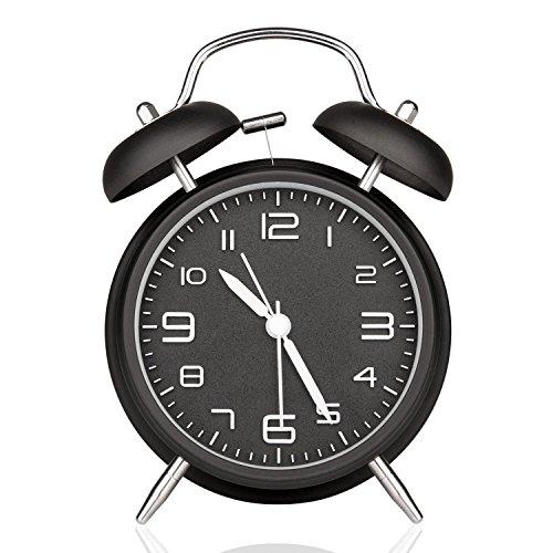 10,2cm Retro Twin Bell Silent schleichendem Sekundenzeiger Nachttisch Analog Quarz Wecker Wake Up Uhr mit Nachtlicht und Laut alarm- batteriebetrieben, metall, schwarz, 10,2 cm (Minutenzeiger Wecker Mit)