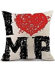 """Día de San Valentín funda de almohada, hmlai fundas de almohada de lino sofá almohada decoración para el hogar funda de almohada decoración del hogar aniversario regalo del día de San Valentín, 18""""x18"""", B"""