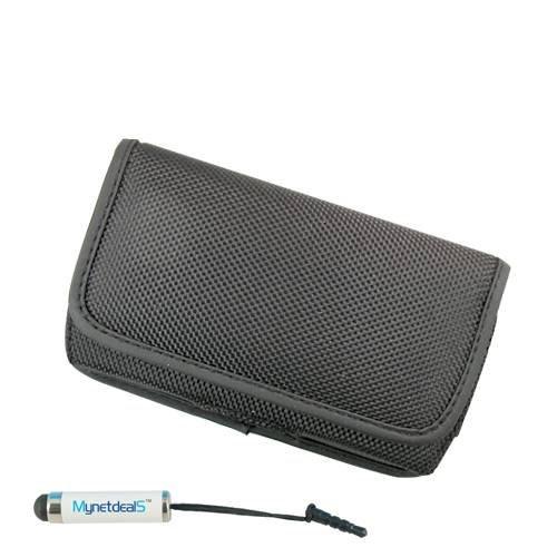 LG L80, horizontal, (PU), umweltfreundlich, mit Clip-Verschluss und Metall Clip auf der Rückseite. Hat Auch auf Leinwand Gürtelschlaufe unter dem Clip. Ideal für Wandern, Camping, Outdoor und Bau (mh014) (Plus Size Nur passend für Handys mit dicke wie OtterBox Commuter auf, nicht für ohne Cover On It) + mynetdeals Mini-Eingabestift (Handy-l80)