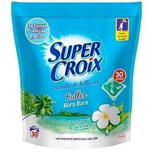 Super Croix - P04275729 - Recharge Lessive liquide ecodose secrets d'ailleurs intense Bora Bora fleur de monoi et lait d'aloé vera 30 lavages - 1kg