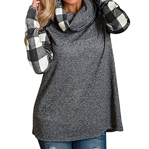 BHYDRY Damen Rollkragenpullover Plaid Shirts Tunika Langarmpullover(L,Schwarz)