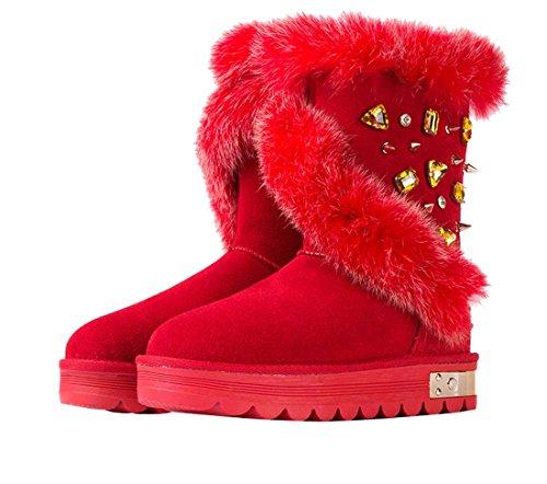 Verziert Schnee Stiefel (HooH Damen Nubuck Kaninchen Fell Diamanten Schneestiefel-Rot-40)