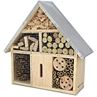 Navaris M Wooden Insect Hotel - 24.5 x 28 x 7.5 cm - Natural Wood Insect House - Garden Shelter Bamboo Nesting Habitat - For Bees Butterflies Ladybugs