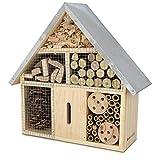 Navaris Hôtel Insecte en Bois - Cabane abri Taille M 24,5 x 28 x 7,5 cm - Maisonnette Refuge Abeille Coccinelle Papillon et Autres Insectes Volants