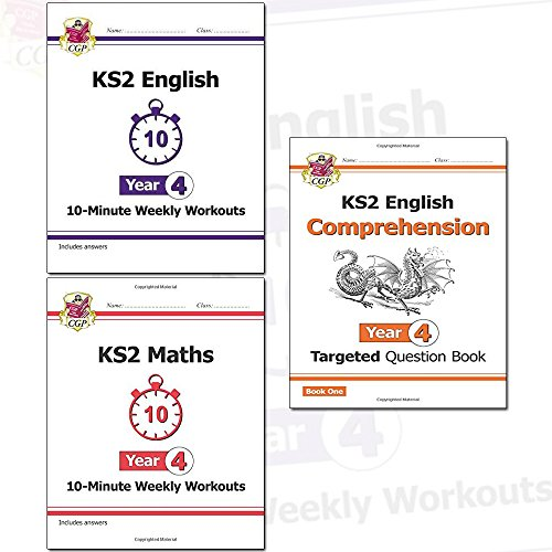 KS2 New Curriculum Year 4 CGP Books Collection 3 Books Set (English 10-Minute Weekly Workouts, Maths 10-Minute Weekly Workouts, English Targeted Question Book: Year 4 Comprehension)