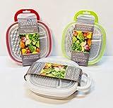 takestop® 3in1Reibe Julienne Gemüsehobel mit Behälter für Käse Gemüse Obst Grate Slice Farbe zufällig 014