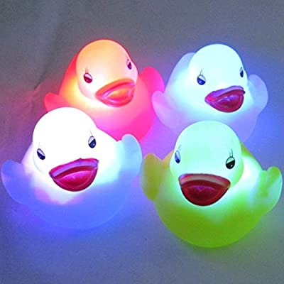 ANKKO 4pcs Watertight LED Duck Night Light Bathing Tub Toys for Kids