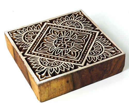 Guru-Shop Holz Stempel Mandala 2, 10x10x3 cm, Indische Holzstempel