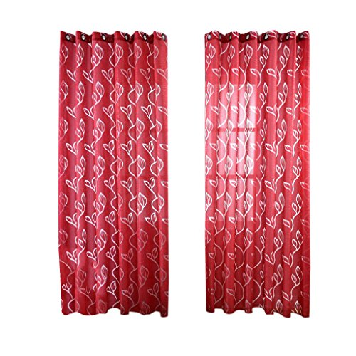 MagiDeal 100 * 250cm Transparent Blätter Vorhang Schiere Voile Tüll Vorhänge Ösenschal (Gardine mit Ösen) aus Polyester , Verschiendene Farben Auswählbar - Rot, 100 * 250cm -