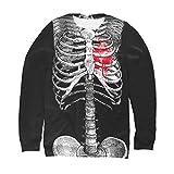 QinMMROPA Sudadera Esqueleto Halloween Mujer sin Capucha Deportiva Sudadera Adolescente Basica Jersey Camiseta Talla Grande Disfraz Calabaza Bruja Calavera Negro S