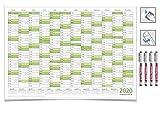 CALENDRIER MURAL EFFAÇABLE 2020 VERT A2 59,4 x 42,0 cm avec 4 non-permanent EDDING marqueurs...