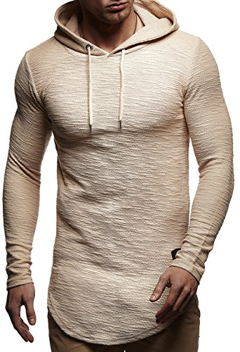 LEIF NELSON Herren Pullover Hoodie Kapuzenpullover Sweatshirt Longsleeve mit Kapuze Hoody LN6300; Größe S, Beige Rot  
