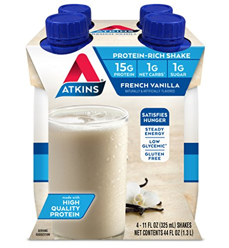 Pack of 1 x Atkins Advantage RTD Shake French Vanilla – 11 fl oz Each / Pack of 4