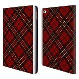 Head Case Designs Offizielle PLdesign Rotes Schottenmuster Weihnachten Brieftasche Handyhülle aus Leder für iPad Air 2 (2014)