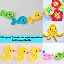 5 Easy and fun crochet applique patterns (English Edition)